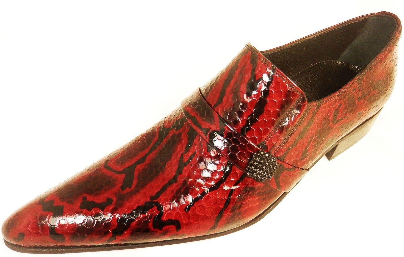 Chelsy-Designer Italiano Slipper Python handmade pagine SPILLA Pelle Rosso