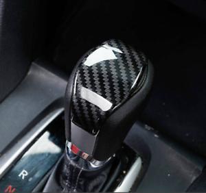 Black Shift Knob Cover ABS Carbon Fiber Gear Shifter Knob Trim for 10th Gen Civic Set of 3 Sticker Decorative Knob Head Cover for Honda Civic Sedan 2016 2017 2018 2019 2020 Automatic Shift Knob