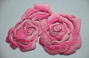 PINK-ROSES-FLOWER-BLOOMS-Embroidered-Sew-Iron-On-Cloth-Patch-Badge-APPLIQUE