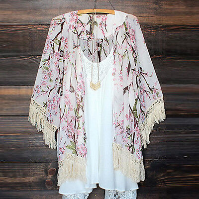 New Bohemian Women  Floral Print Tassels fringe Kimono Top Blouse Long Cardigan