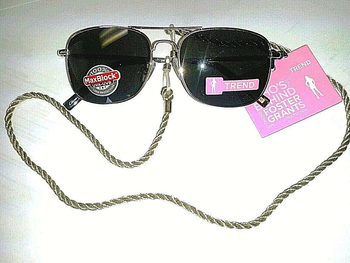 100%UV Beauty Solutions Petite Women's Gold Metal Sunglasses & Braided Strap