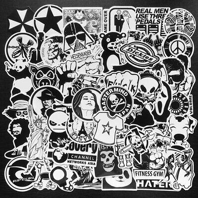 50Pcs Black White Stickers Skateboard Laptop Luggage Guitar Bike Car Bomb DHFJQ