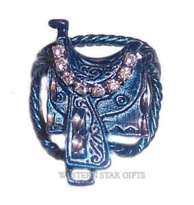 Saddle-Scarf-Slide-Holder-Blue-Western-Cowgirl-Rodeo-Jewelry-Gift-Rhinestones