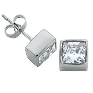 2 ct. Square White Sapphire Bezel Stud Earrings in Solid Sterling Silver