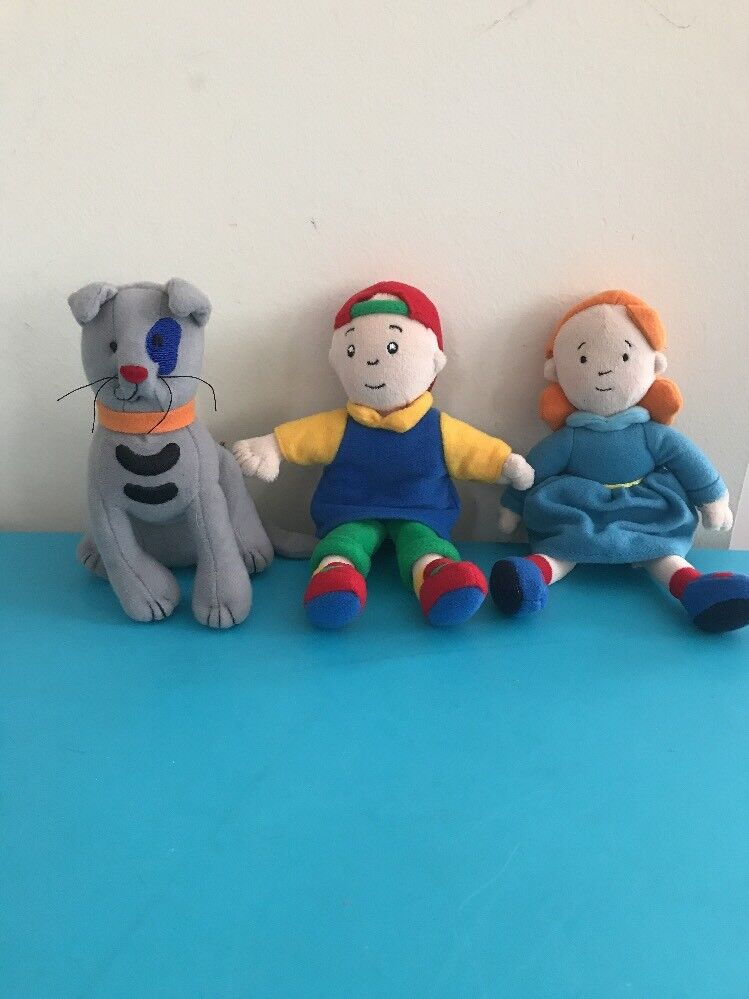Caillou, Rosie And Gilbert (cat) Fabric Fabric Fabric Plush Dolls RARE 7inch PBS Kids f82617