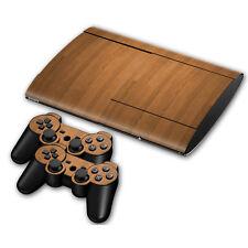 PS3 PlayStation 3 Super Slim Skin Design Aufkleber Schutzfolie Set - Wood Motiv