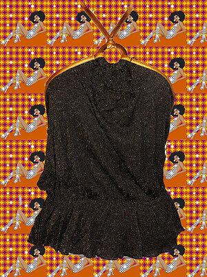 167✪  Glam Rock Glitzer Shirt 70er Jahre Revival Neckholder gold schwarz