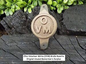 Ohio Volunteer Militia Bridle Rosette Original Unused Bannerman's Surplus Stock