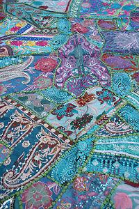 vintage patchwork wandbehang indien tischdecke handarbeit wandteppich orient ebay. Black Bedroom Furniture Sets. Home Design Ideas