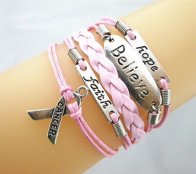 New Hope//Believe/Faith/Breast Cancer Awareness Sign Braided Leather Bracelet