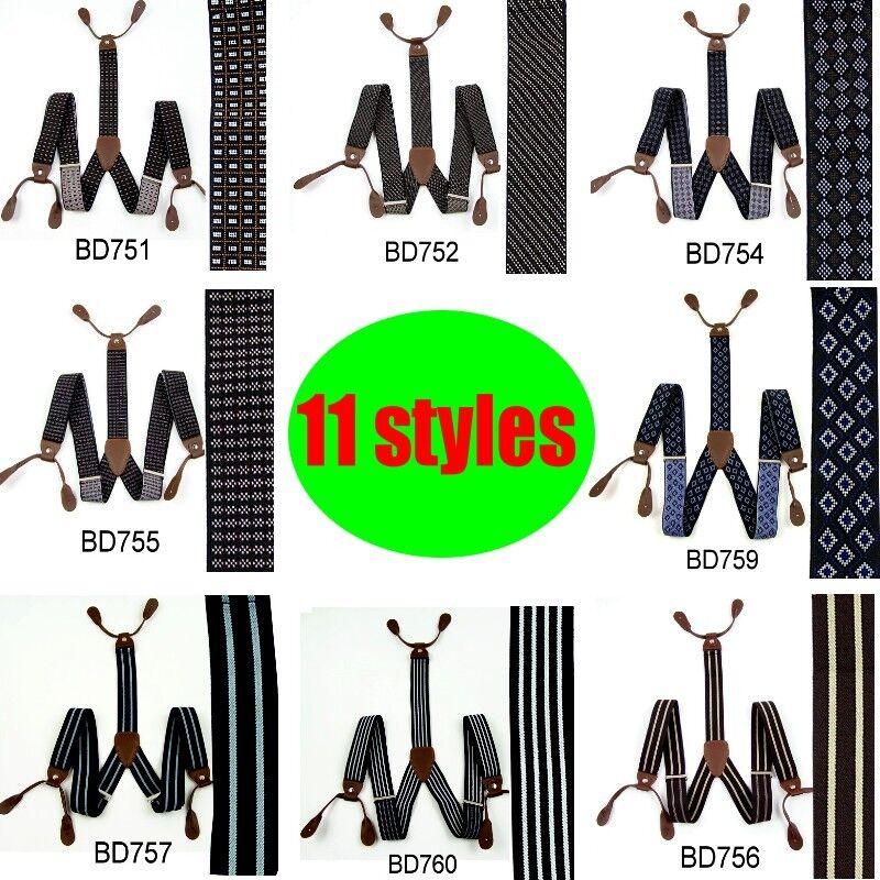 New Adjustable Mens 3.5 CM Width 6 Button holes unisex Suspenders Braces BD75H