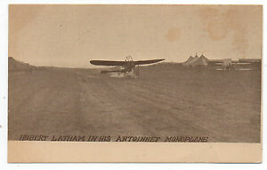 1910-Postcard-Hubert-Latham-in-his-Antoinnet-Monoplane