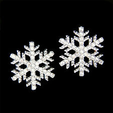 w Swarovski Crystal ~SNOWFLAKE~ Snow Flake Holiday Winter Earrings Xmas Jewelry