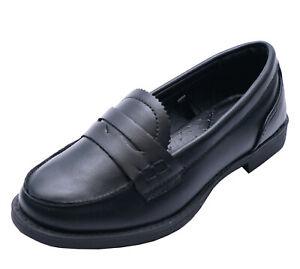 GIRLS-CHILDRENS-SLIP-ON-BLACK-SCHOOL-JUNIOR-FLAT-COMFY-LOAFERS-SHOES-SIZES-10-3