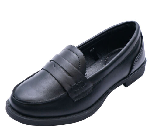 Filles Enfants Slip-On Black School Junior plat Comfy Mocassins Chaussures Tailles 10-3