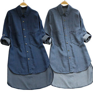 Women's Denim Jeans Shirt Blouse Casual Long Sleeve Tops Button Down Tunic Dress