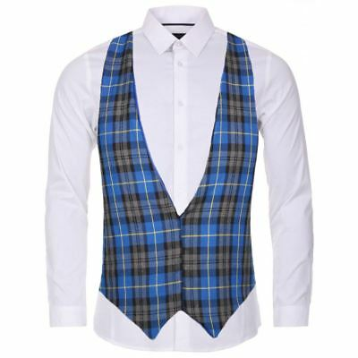 Blue Hunting Tartan Backless Waistcoat Scottish Fancy Dress Accessory Modische Muster