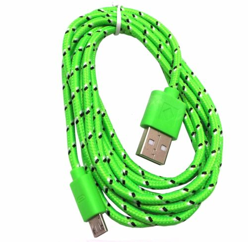 Green 6ft Braided Fabric Micro USB Sync and Charge USB Data Cable