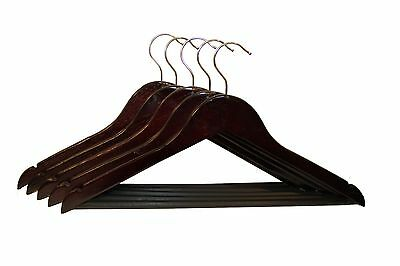 50 WOOD / WOODEN HANGERS, PANT SHIRT DRESS SKIRT TOP, CHERRY MAHOGANY NATURAL