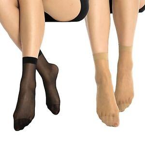 10 x Pairs Ladies 20 DENIER Sheer Ankle High Trouser Pop Socks UK ONE SIZE 4-7