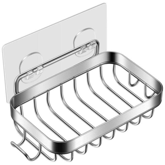 Wall Mounted Soap Holder Self  Storage Box Drain Dish Adhesive Shower Bathroom