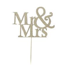 MR & MRS ARGENTO Cake Topper Decorazione Torta Carta anniversarywedding PICK Topper