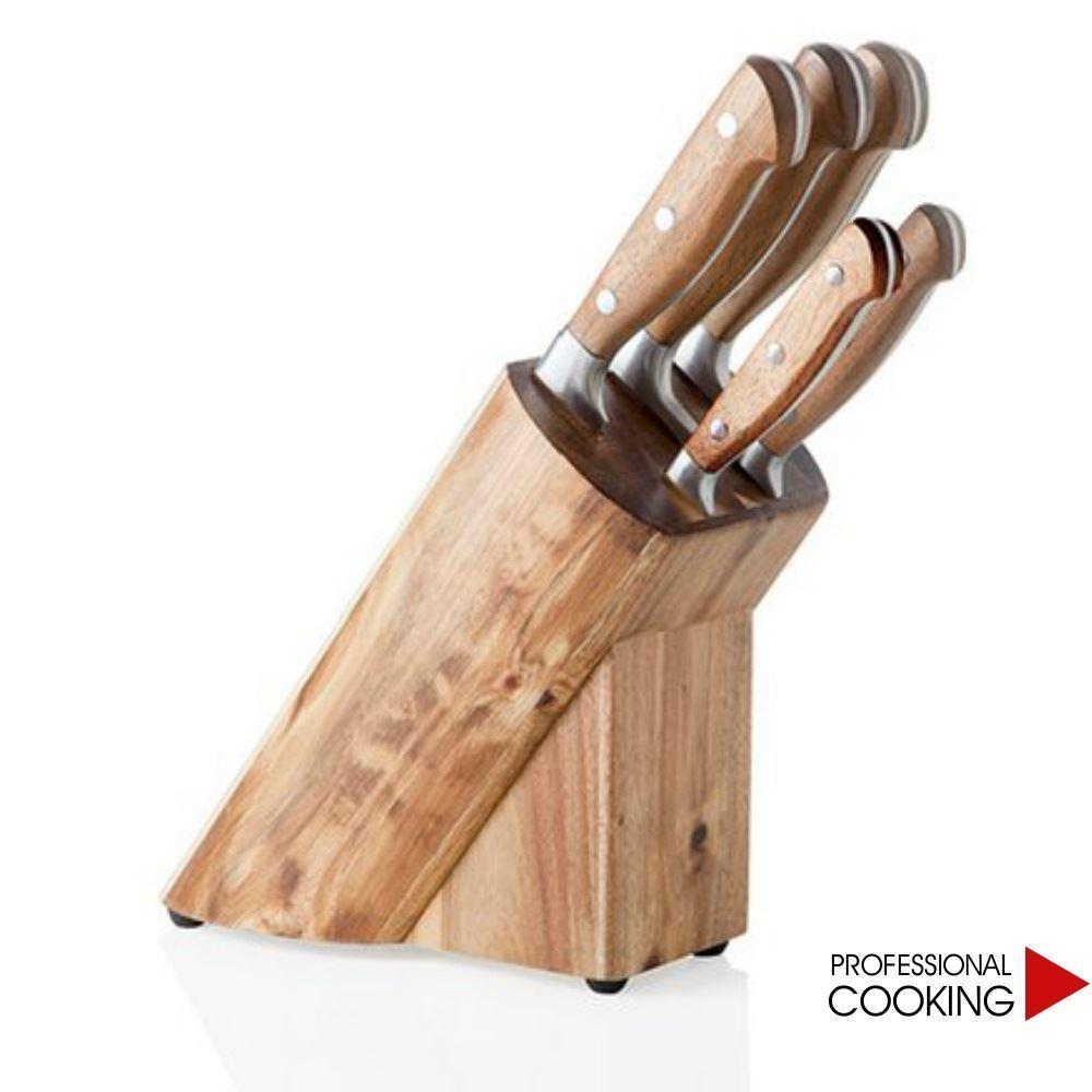 Brandani ceppo multiplo con 5 coltelli inox e legno acacia