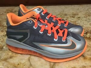 new style 8c614 7c87e Image is loading NIKE-LeBron-XI-11-Low-Magnet-Grey-Silver-