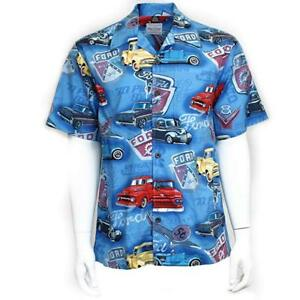 David Carey Old Ford Trucks and Logo Hawaiian Camp Club Shirt Button Down
