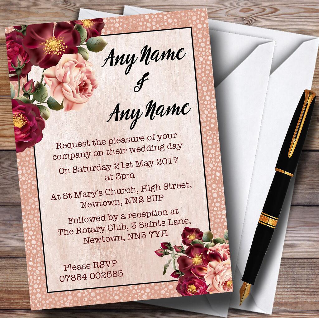 Coral blush & deep Rouge Rouge deep  aquarelle rose personnalisé mariage invitations ccd6a7