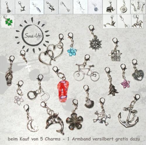 Auswahl ✓ CHARM ANHÄNGER Kette Tasche Basteln KARABINER SILBER FARBE ✓ f