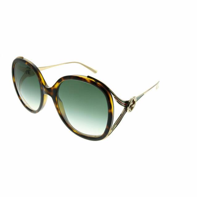 4fefa20d4d Gucci GG 0226S 003 Havana Plastic Round Sunglasses Green Gradient Lens