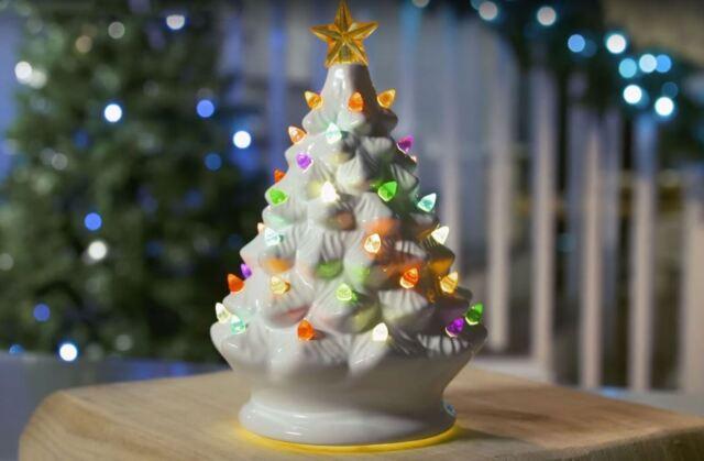Winter Lane Set Of 2 Lighted Musical Ceramic Christmas Trees For