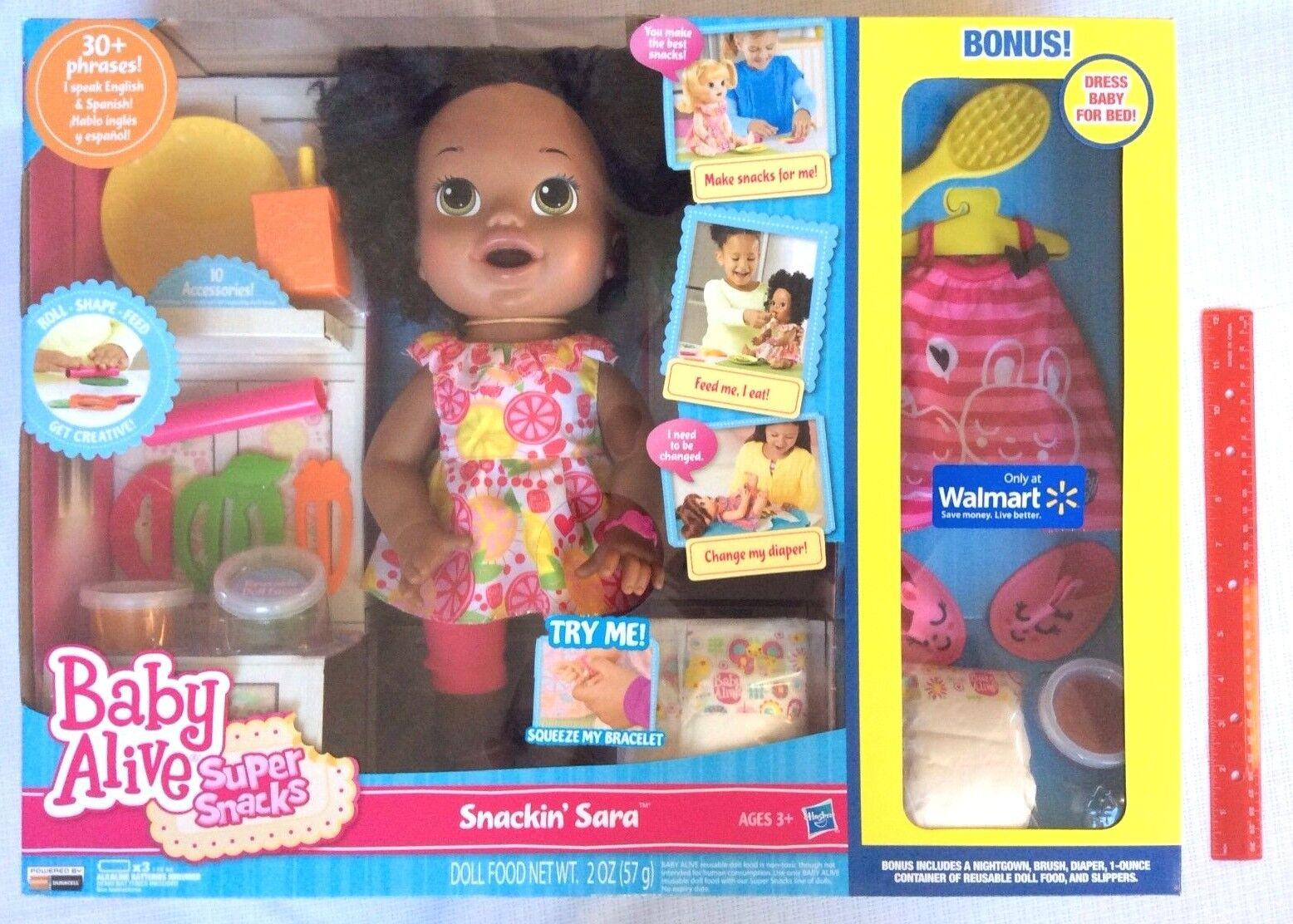 Baby Alive Súper bocadillos Snackin 'Sara comer hablar Caca AA afroamericano + Bonus