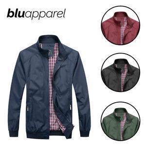 Abrigo-para-hombre-Harrington-Jacket-Clasico-Bombardero-Abrigo-Vintage-S-M-L-XL-XXL-Negro
