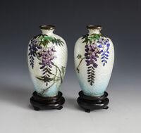 Pair of Japanese Gimbari Cloisonne Enamel Floral Vases, c1920. Wood Bases