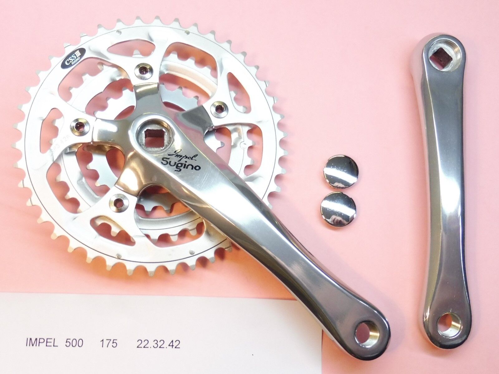 Sugino Impel 500 pedaliera in bicicletta bicicletta bicicletta - 175mm 22x32x42 pedaliera in nn. bab1a7