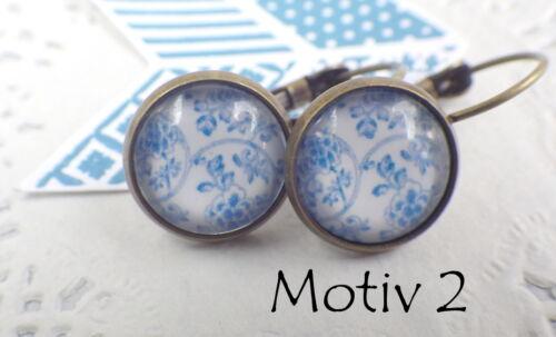 Aretes porcelana flores cabochon azul blanco flor flores ohrhänger blogueros