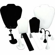 Black Velvet Amp White Jewelry Display 11 Pc Set Bonus
