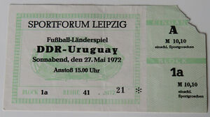 Ticket for collectors DDR East Germany - Uruguay in Leipzig 1972 - Internet, Polska - Ticket for collectors DDR East Germany - Uruguay in Leipzig 1972 - Internet, Polska