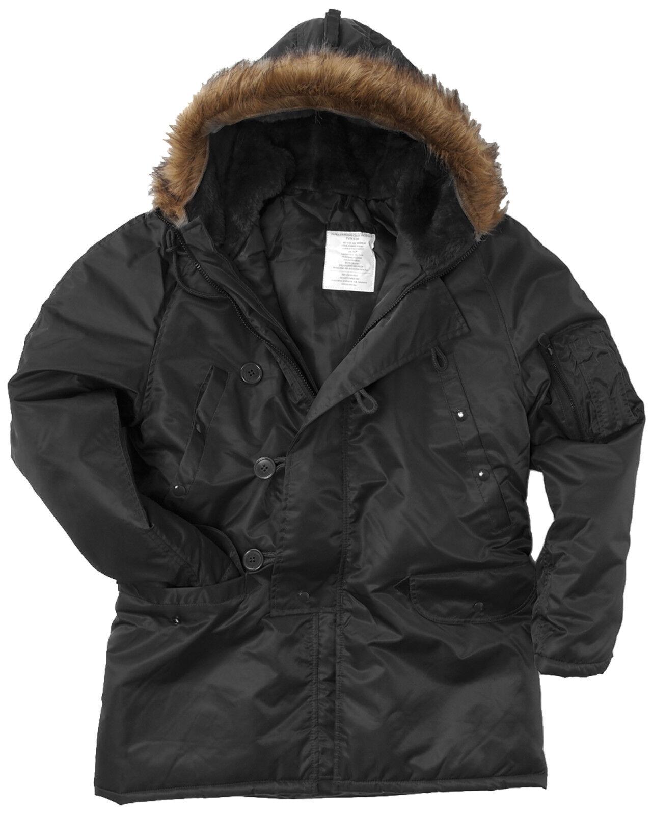Noir N3B PARKA STYLE MILITAIRE US long à capuche polaire veste Temps froid