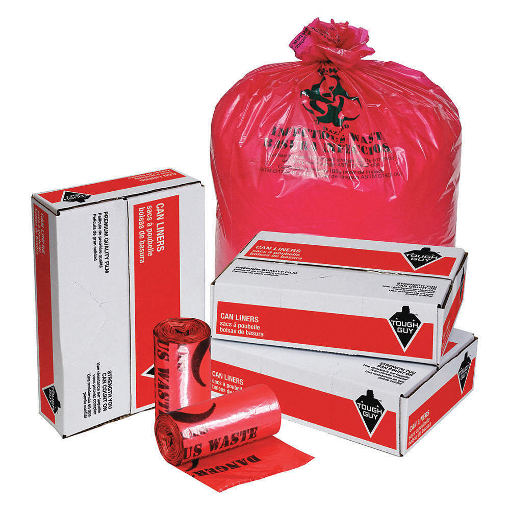 1FC23 Hospital Isolation Bag,33gal,Red,PK100 TOUGH GUY