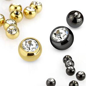 Piercing-Schraubkugel-Ersatz-Verschlusskugel-Gold-Schwarz-mit-Kristall-Kugel