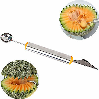 Stainless Steel Fruit Melon Ice Cream Scoop Spoon Melon Baller Carving Knife New