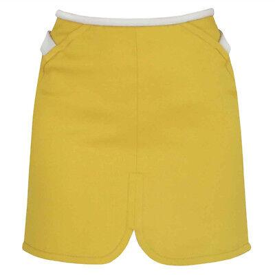 BALENCIAGA PARIS ocher yellow magnetic side strap resort 11 mini skirt 38-F/6-US