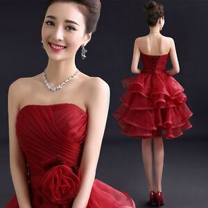 Red-Evening-Prom-Party-Club-Dresses-Bridesmaid-Dress-Bubble-Skirt-Ruched-C316