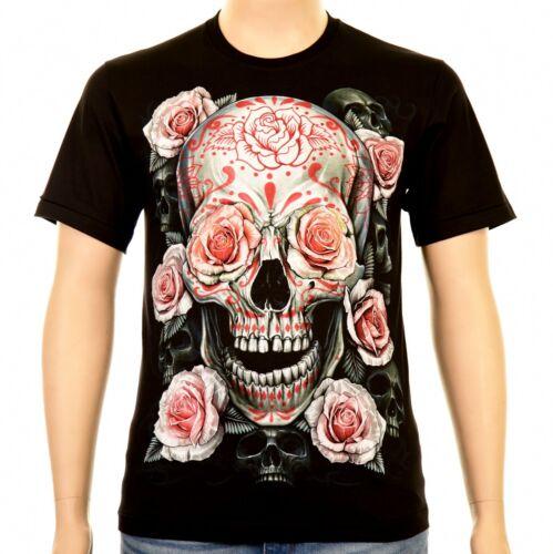ROCK EAGLE SKULLS AND ROSES T-shirt hommes noir TETE DE MORT SKULL ROSES squelette