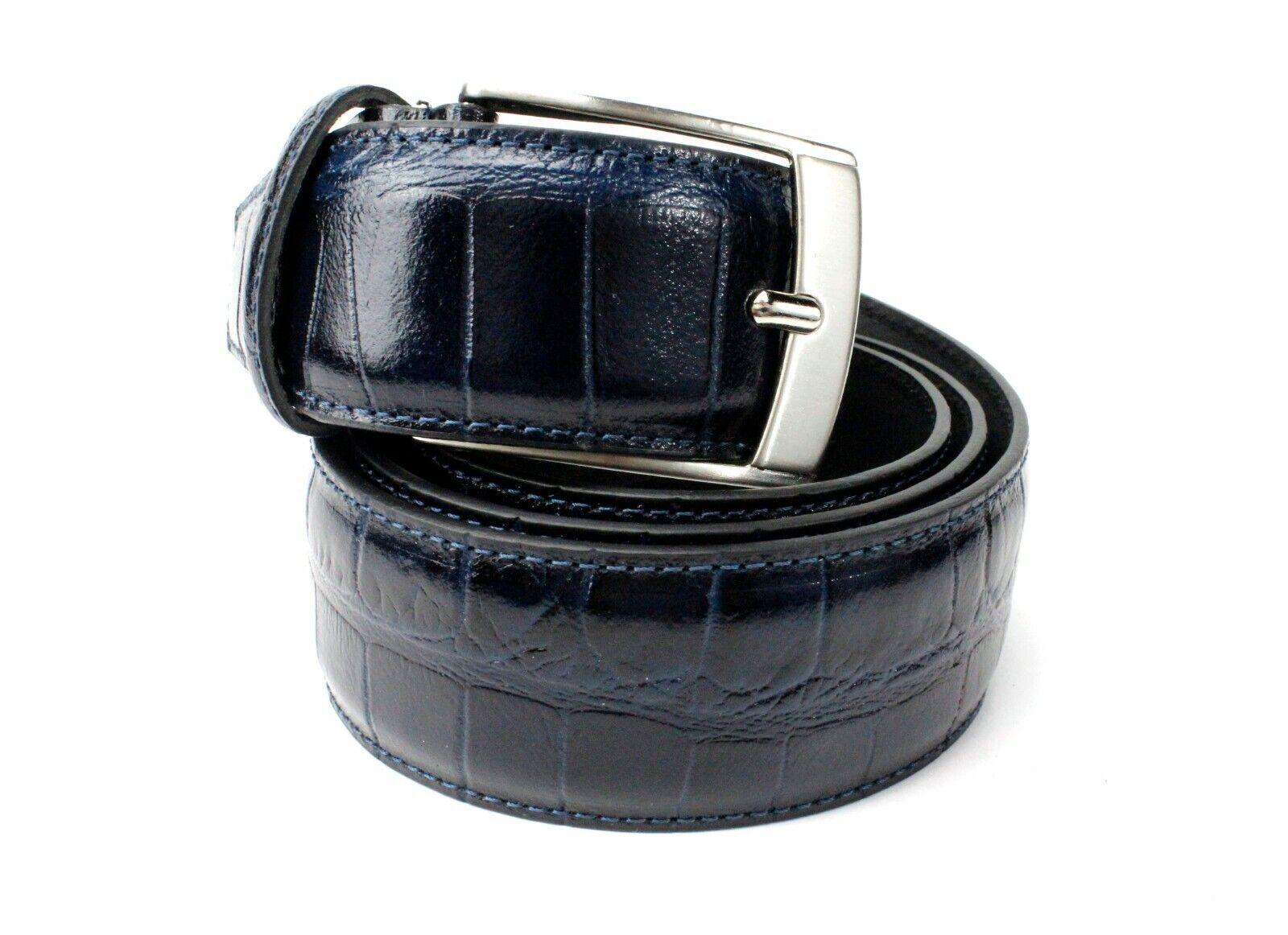 Iwan Troy Blau Handgefertigt Italienische Ledergürtel/Herren