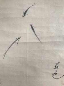 Japanese-Hanging-Scroll-Kakejiku-Hand-Paint-Paper-Medaka-Fish-Antique-B323