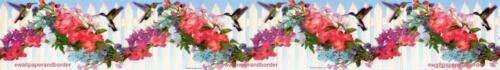 Peel /& Stick Hummingbird on Flower Garland Fence Blue Wallpaper Border Stick-ups
